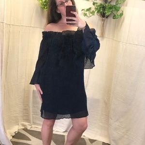 English Factory Navy off the shoulder ruffle dress
